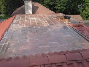 Finished Tile Roof with Welded Copper Flat